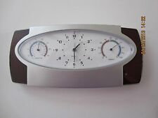 TRI-FUNCTION DESK QUARTZ CLOCK/TEMP/HUMIDITY/ALARM-GREAT GIFT/AWARD/OFFICE