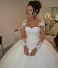 Princess Ball Gowns Wedding Dresses Long Sleeve Applique Pearl Beads Bride Dress