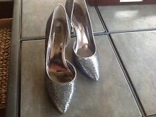Womens Anne Klein Evening Sz 8 Grey Glitter Heels Pumps