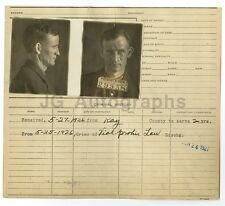 Police Booking Sheet - D.W. Thompson - Missouri Penitentiary, 1926