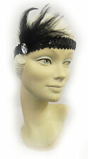 Sequin Feather Flapper Charleston 1920's Vtg Downton Gatsby Headband Headpiece