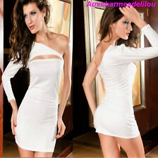 MINI ROBE de SOIREE COCKTAIL GOGO CLUBWEAR TUNIQUE FEMME SEXY blanc cassé 36-38