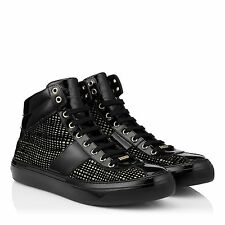 Jimmy Choo 8171 Belgravia Black/Gold Net Flocked Glitter Men's Sneakers Sz 46