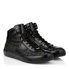 Jimmy Choo 8171 Belgravia Black/Gold Net Flocked Glitter Men's Sneakers Sz 46