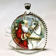 Horse Lover Christmas Gift VINTAGE SANTA CLAUS HORSE Necklace Equestrian Gift