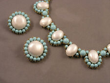 Vintage Signed Trifari Opulent Faux Pearl & Turquoise Necklace & Earrings Set