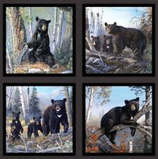 Honey Tree Black Bears Bear Family 24x44 Large Cotton Fabric Panel