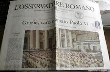 STORICA COPIA OSSERVATORE ROMANO BEATIFICAZIONE PAOLO SESTO