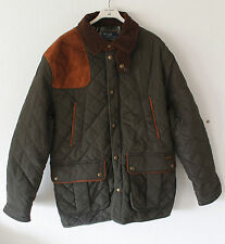 New Polo Ralph Lauren Men`s Brooks Quilted Car Coat Jacket Dark Green Brown XL