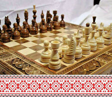 3 in 1 Chess Checkerboard Checkers and Backgammon Game New Carved Wooden Walnut