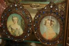 SALE! Pair of Jeweled Picture Frames w/ Hand Painted Miniture -RARE !