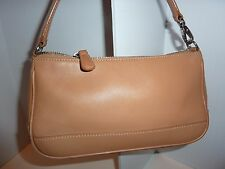 COACH TAN LIGHT BROWN LEATHER DEMI HAMPTON BAGUETTE WRISTLET SMALL BAG 7785
