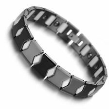 Magnetic Bracelet CERAMIC Tungsten Crystal  Black & White Polished Jewellery