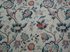 Sanderson Curtain Fabric  'Roslyn' Teal/Cherry 3.3 METRES (330cm) 100% Linen