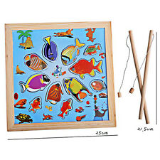 Magnetic Fishing Game Wooden Toy with Fishing Pole Rod+ Fish Model for Kids Baby