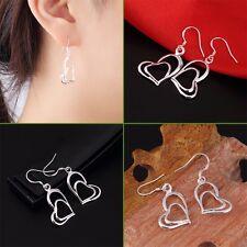 Women 925 Sterling Silver Double Love Heart Dangle Earrings Charm Jewelry LA