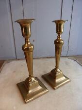 Pair antique Georgian brass candlesticks