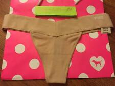 M Victoria Secret PINK Smooth Seamless Yoga Thong Panty NUDE NWT MEDIUM