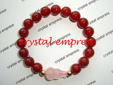 Feng Shui - Red Agate with Rose Quartz Wu Lou Kids Bracelet