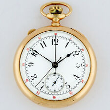 CH Meylan 14K Gold Split Seconds Chronograph Rattrapante OF Pocket Watch 47mm