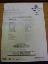 16/12/2004 Colour Teamsheet: Newcastle United v Sporting Lisbon [UEFA Cup] (crea