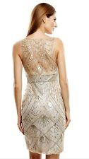 SUE WONG Champagne Silver Beaded Sequin Wedding Bridal Cocktail Illusion Dress 8