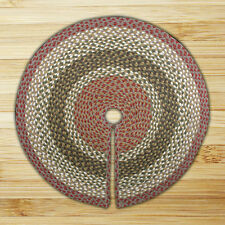 "OLIVE/BURGUNDY/GRAY 100% Natural Jute Christmas Tree Skirt 20"", by Earth Rugs"