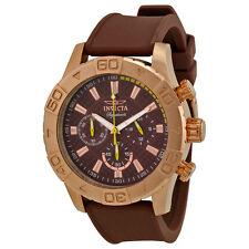 Invicta Signature II Chronograph Brown Dial Brown Polyurethane Strap Mens Watch
