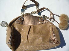 Bebe beige cloth & Gold  leather  pocket book  Excellent cosmetic condition