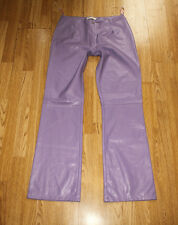 Purple Look Leather VERAO MODA Zip Bootcut Biker Jeans Trousers Pants Sz L, L 33
