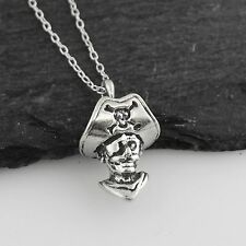 Tiny 3D Pirate Necklace - 925 Sterling Silver - Pirates Skull Ship Treasure NEW