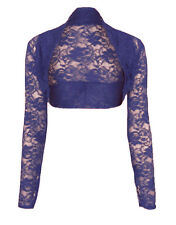 Womens Cropped Lace Long Sleeve Shrug Ladies Bolero Lace Jacket Cardigan Top