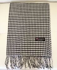 100% Cashmere Scarf White&Black Houndstooth Made in Scotland Warm Wool 2PLY