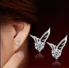 Fashion Women Sterling Silver Jewelry Angel Wings Crystal Ear Stud Earrings