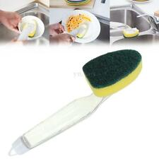 Housework Cleaning Brush Scrubber Washing Dish w/ Liquid Soap Dispenser Handle