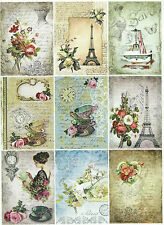 Romantic Paris Selection ~ Glossy Card Making Toppers / Scrapbooking
