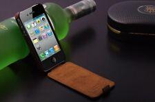 iPhone SE/5s/5  Schutzhülle Leder Farbe Schwarz Top Case Flip Klappe Luxus Cover