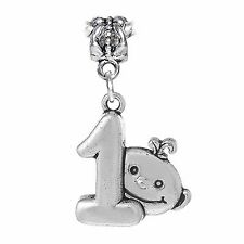 Baby's 1st Birthday Mother Gift Number One Dangle Charm for European Bracelets