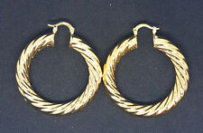 NEW WOMENS 18CT YELLOW GOLD FILLED TWIST CREOLE EAR HOOP HOOPS DANGLE EARRINGS