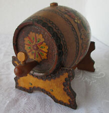 Antique primitive WOODEN FLASK CANTEEN KEG BARREL +stand, hand painted pokerwork