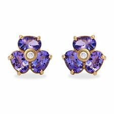 3.06Ct Natural Tanzanite and Diamond 14K Solid Yellow Gold Earrings