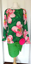Ann Lawrence Vintage Silk Green/ Pink Floral  Dress w/3D  Flower~Sz 8~ AMAZING~
