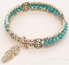 Tibetan Silver Feather Bangle Women Gypsy Turquoise Vintage Bracelet Bohemian