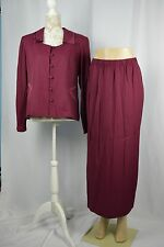 Fashion Bug Womens 12 Maroon Loop Button Jacket Long Skirt Suit Set 2pc.