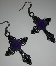 Large Gothic Earrings *Black cross*Purlple rose*pagan*steampunk*emo*Wiccan*