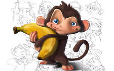 Affiche A4-mignon singe étreignant un banana (photo imprimé drôle comique comédie art)