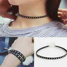 Fashion Women Punk Rivet Studded Leather Choker Chunky Necklace Bracelet Black