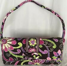 Vera Bradley Purple Punch Handbag Clutch Pink Brown Lime Dual Purse Retired