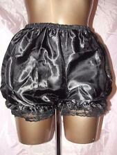NEW SISSY SILKY FRILLY LACED BLACK BLOOMER PANTIES SIZE 12/14 UK