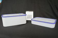 Tupperware Pak n Store Large 12 & 4 Cup Containers & Seals Set Clear & Blue New